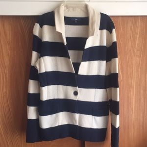 Gap Blue and Cream button collared cardigan